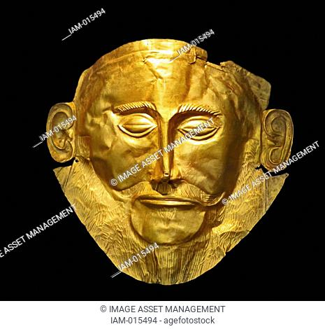 The Mask of Agamemnon discovered at Mycenae in 1876 by Heinrich Schliemann. The mask is a gold funeral mask, found over the face of a body located in a burial...