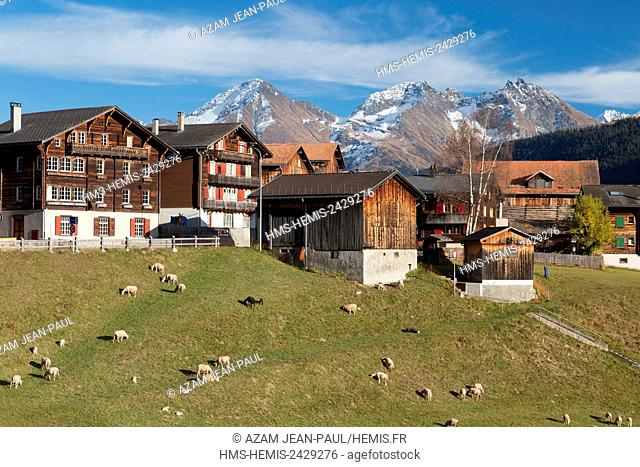 Switzerland, Canton of Grisons, Sedrun village
