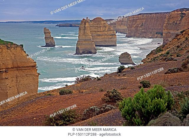 The Twelve Apostles, group of eroded limestone sea stacks off the shore of the Port Campbell National Park, along the Great Ocean Road in Victoria, Australia
