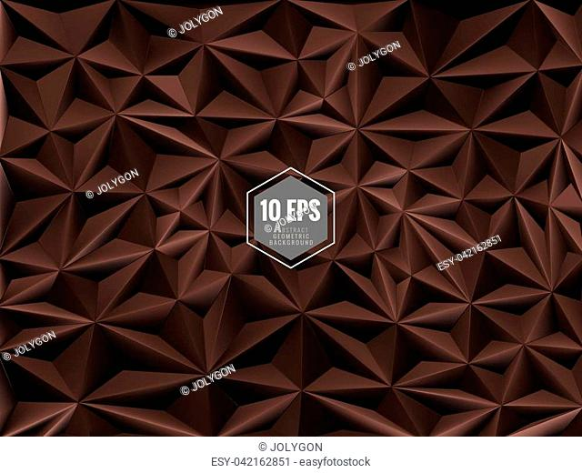Triangular abstract 3D background in chocolate color