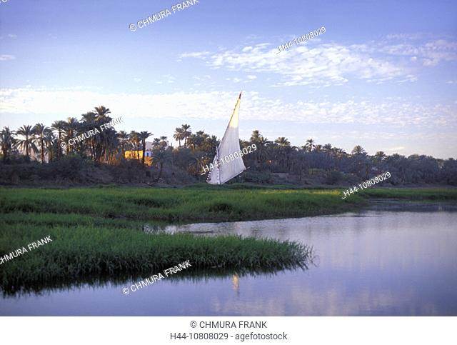 Egypt, North Africa, Felukka, Felukke, Luxor, Mood, River, Sail boat, Nile