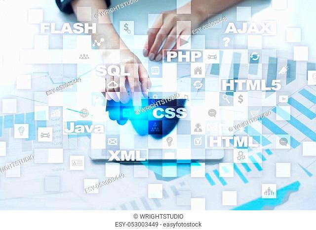 Web development. Programming. Internet and technology concept