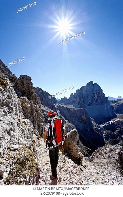 Climber on Mt Elferscharte or Forcella Undici in the Alpinisteig or Strada degli Alpini via ferrata, Mt Zwoelferkofel or Croda dei Toni in the back, Sexten