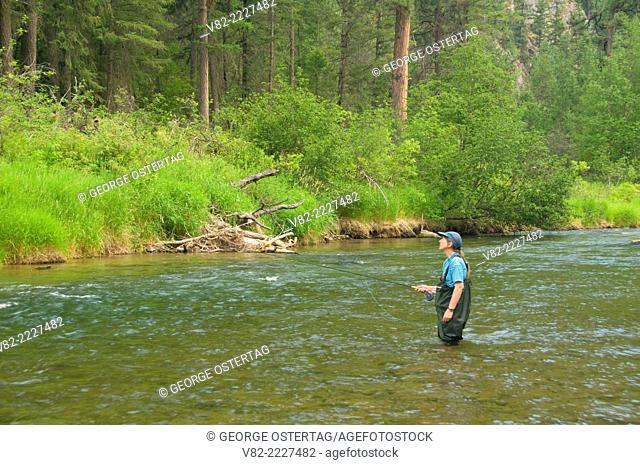 Flyfishing Thompson River, Lolo National Forest, Montana