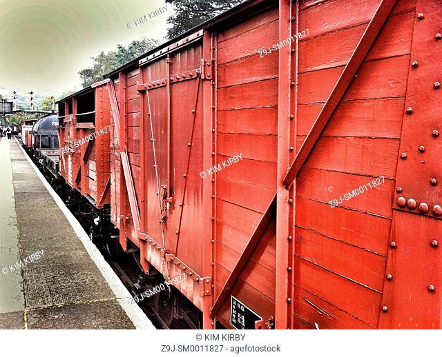 Restored freight wagons Grosmont North Yorkshire England UK United Kingdom GB Great Britain