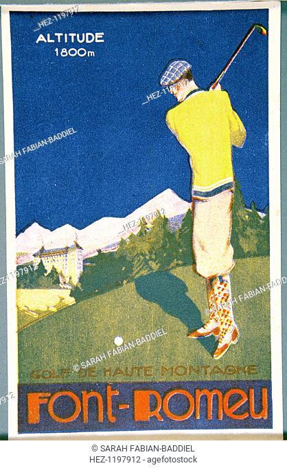 Golfing resort poster, French, c1920s. Font-Romeu resort in the French Pyrenees mountain range
