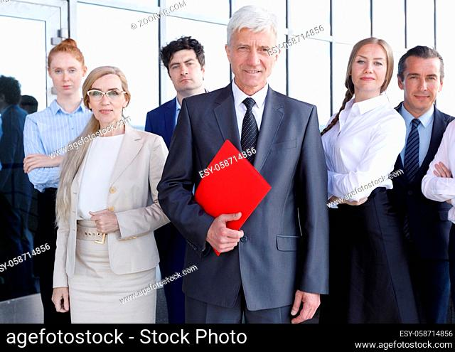Group portrait of uccessful company workers in office