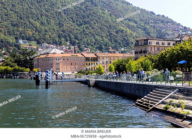 Harbour in Como at Lake Como, province of Como, Lombardy, Italy, Europe