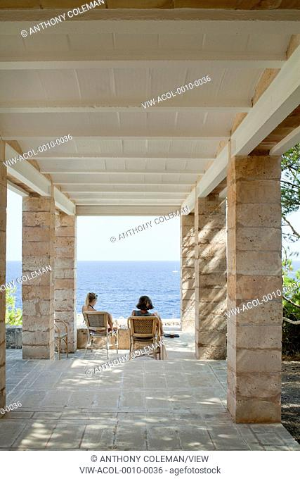 Can Lis, Mallorca, Spain. Architect: Utzon, Jorn, 1971. Main terrace and view to sea