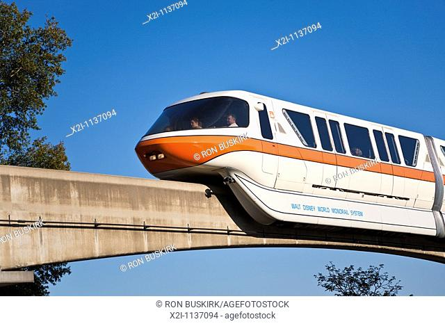 Kissimmee, FL - Jan 2009 - Monorail passes overhead at Walt Disney's Epcot Center in Orlando Kissimmee Florida