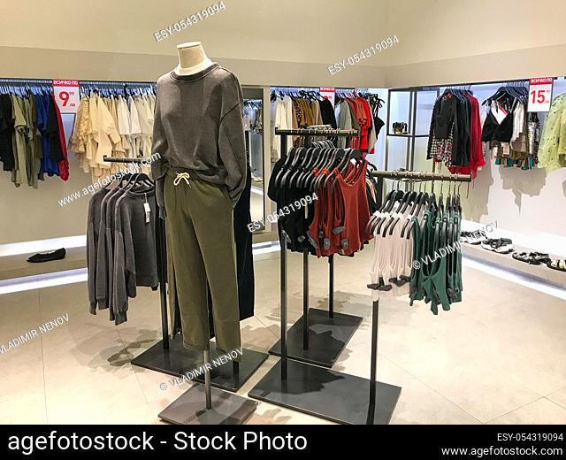 Burgas, Bulgaria - February 14, 2020: Zara store in Burgas. Zara is a Spanish clothing and accessories retailer based in Arteixo, Galicia