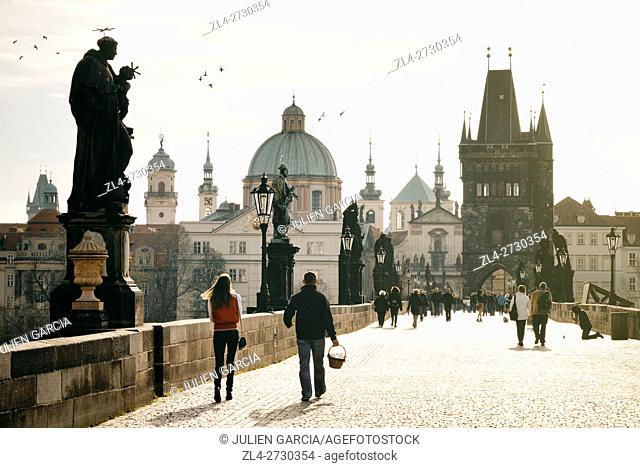 Czech Republic, Prague, historic centre listed as World Heritage by UNESCO, the Old Town (Stare Mesto), the Charles Bridge (Karluv Most) the Vltava River at...