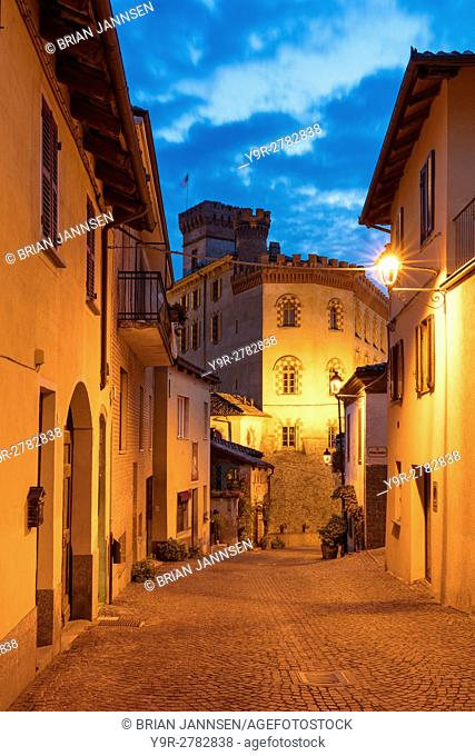 Twilight over medieval town of Barolo with Museo del Vino a Barolo beyond, Piemonte, Italy