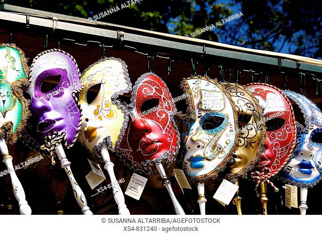 Venetian masks of carnival exposed for the sale.The masks and the disguises are basic in the Carnival of Venice, this carnival became popular in the 13th...