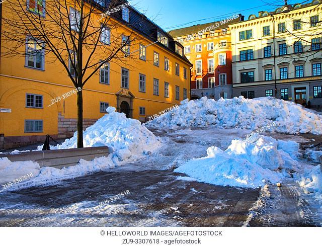 Snow piled up in Lantmateribacken, Norrmalm, Stockholm, Sweden, Scandinavia