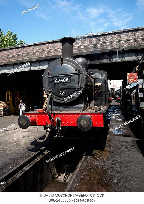 vintage steam locomotive at Loughborough station, on the Great Central Railway in Leicestershire,UK