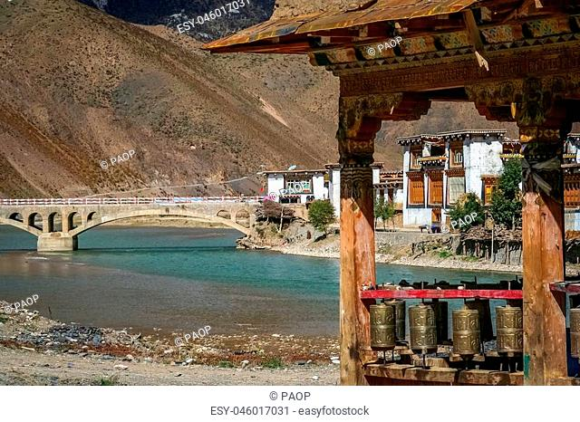 View of the bridge in one of the small Tibetan villages