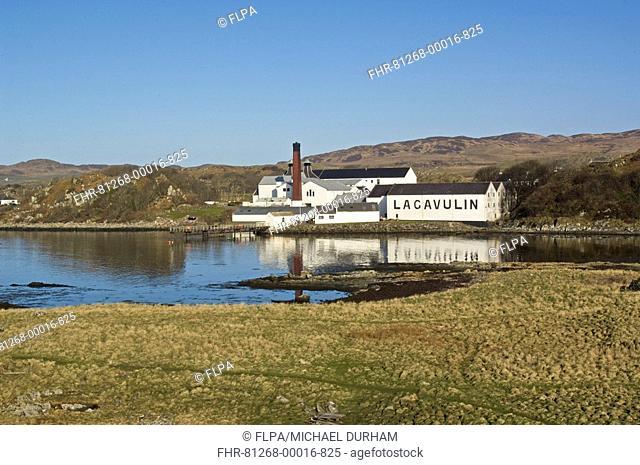 Lagavulin Malt Whisky Distillery, buildings and coastline, Islay, Inner Hebrides, Scotland