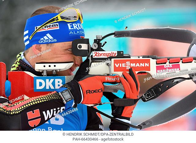 Germany's Erik Lesser at the shooting range during the sprint competition at the Biathlon World Championships, in the Holmenkollen Ski Arena, Oslo, Norway
