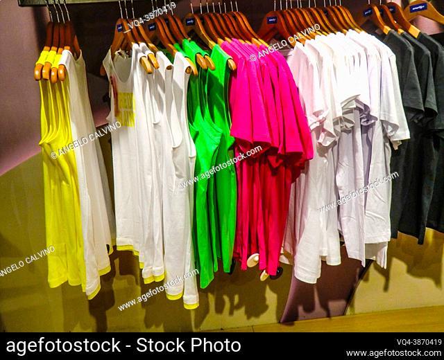 colorful garments displayed in a sport shop in Bolzano, Bozen, Dolomites, Alpine mountain region, South Tirol, Alto Adige, Italy, Europe