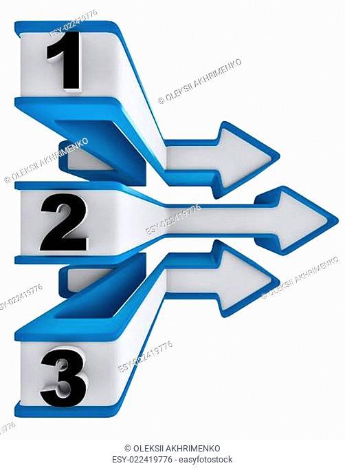 One two three - symbol progress for three steps