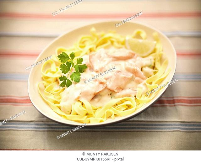 Dish of salmon pasta