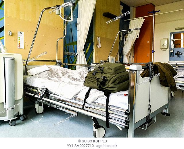 Tilburg, Netherlands. Leaving a hospital ward and bedroom after a short stay