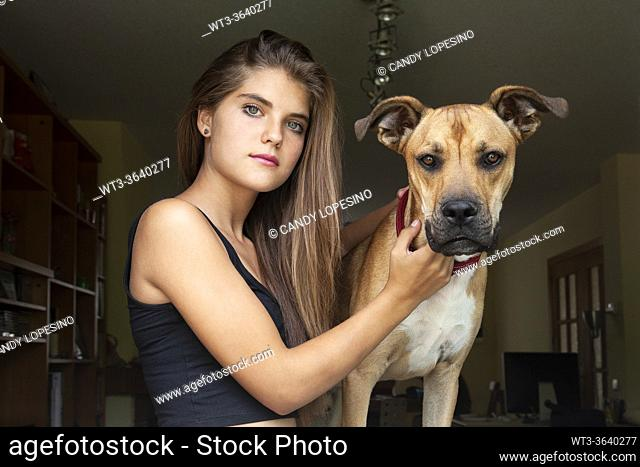Young girl and her dog at home looking at the camera