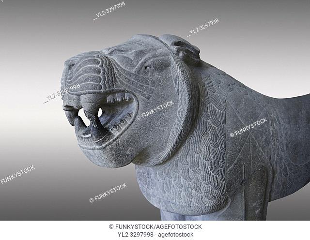 Lion sculptures from the city gate of Sam'al - Zincirli. Neo Syro Hittite. Basalt 8th century BC. Pergamon Museum Berlin