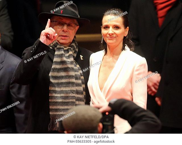 The Berlin Film Festival's director Dieter Kosslick and French actress Juliette Binoche at the opening gala of the 65th Berlin Film Festival and the premiere of...