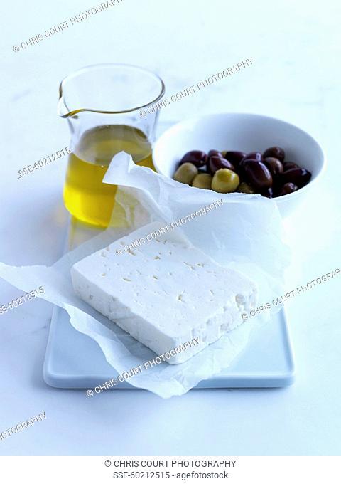 Feta, olives and oil