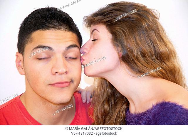 Portrait of young couple in love. Close view
