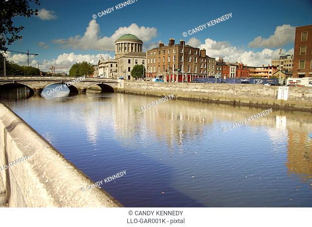 View Down the River Liffey  Dublin, Republic of Ireland