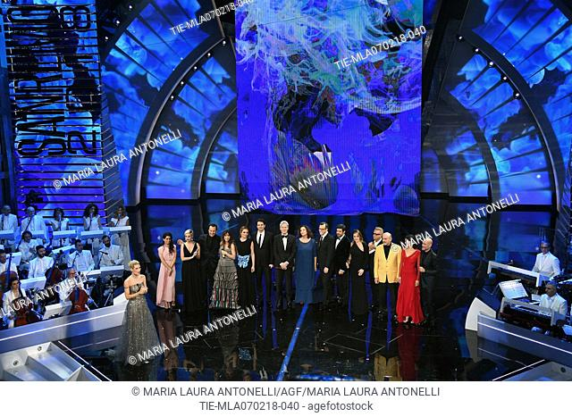Singer and artistic director of Festival Claudio Baglioni, tv presenter Michelle Hunziker, actor Pierfrancesco Favino, director Gabriele Muccino and cast of...