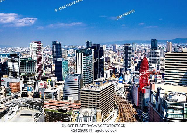 Japan,Kansai, Osaka City, Umeda area, skyline