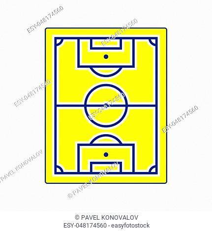 Icon of football field. Thin line design. Vector illustration