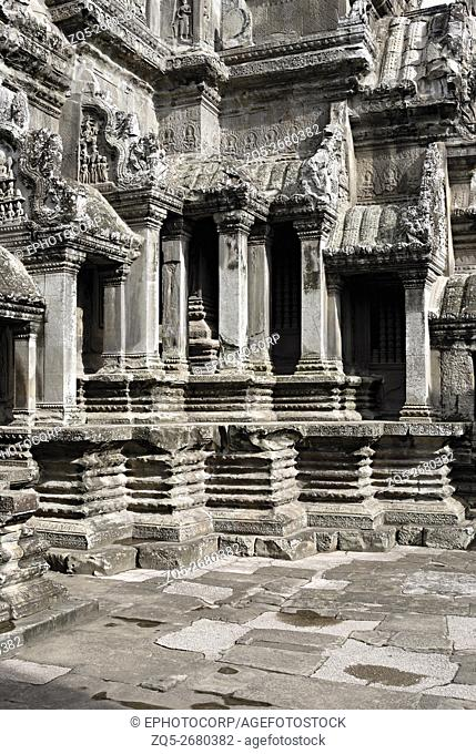 Cambodia, Angkor Wat 12th century A. D. Pillared Shrine with decorative offset of the plinth