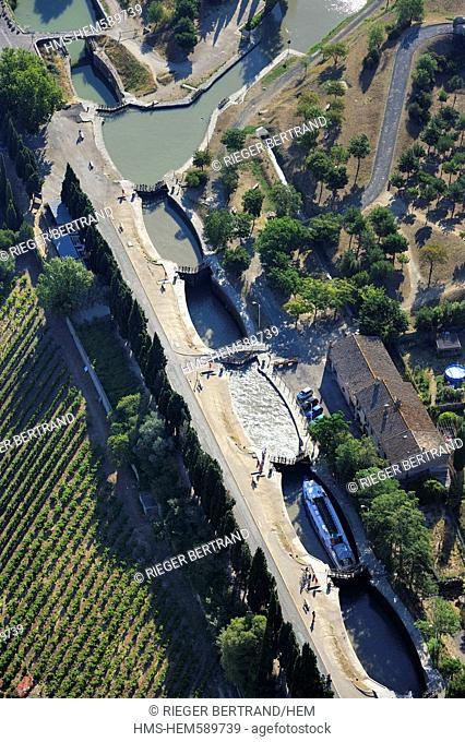 France, Herault, Beziers, Canal du Midi listed as World Heritage by UNESCO, the locks of Fonserannes or Fonseranes built by Pierre Paul Riquet aerial view
