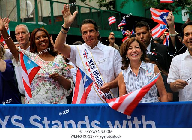 61st Annual National Puerto Rican Day Parade in New York City. Featuring: Letitiia James, Governor Andrew M. Cuomo Where: New York City, New York