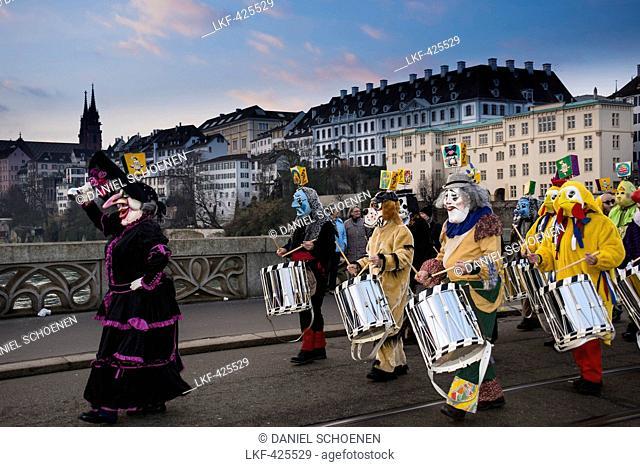 Carnival procession, Morgenstraich, Carnival of Basel, canton of Basel, Switzerland