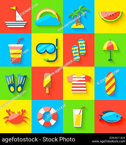 Illustration flat icons of holiday journey, summer symbols, sea leisure, colorful minimalist icons with long shadow -