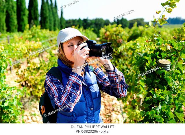 cheerful young woman hiking and taking pictures with her reflex single lens camera- Cepage Grenache, Chateauneuf du Pape, cotes du Rhone, France