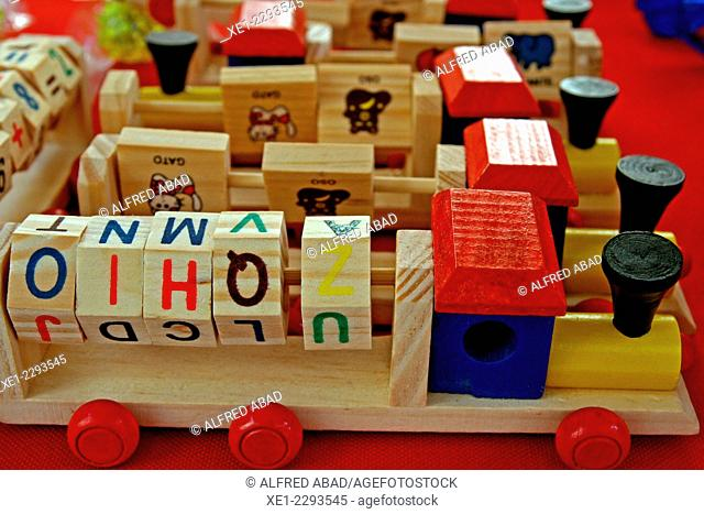 Wooden trains, educational toys
