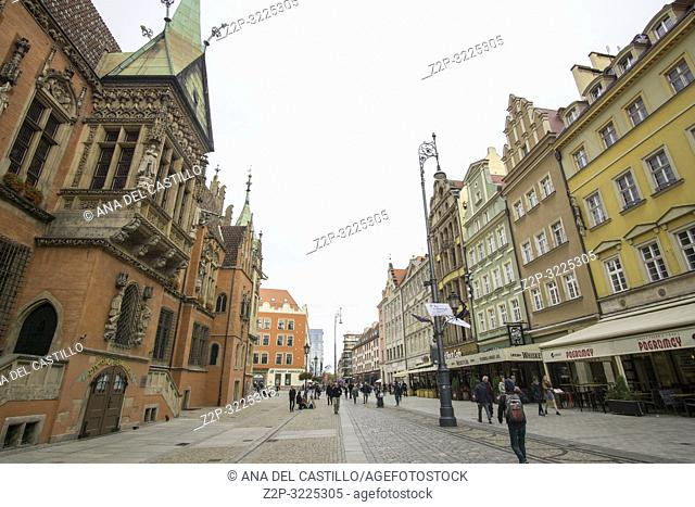 WROCLAW POLAND ON SEPTEMBER 26, 2018: Rynek (Market Square) Poland