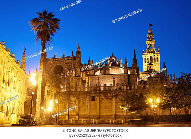 Seville cathedral sunset and Giralda in Sevilla Andalusia Spain