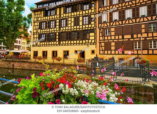 Strasbourg la Petite France in Alsace half timbered houses