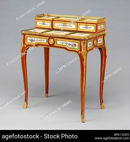 Desk (bonheur du jour). Maker: Attributed to Martin Carlin (French, near Freiburg im Breisgau ca. 1730-1785 Paris); Factory: Porcelain plaques by Sèvres...