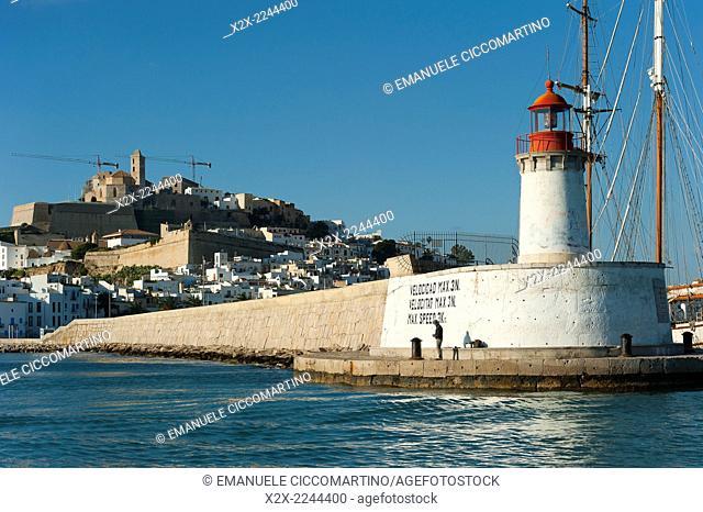 Ibiza port lighthouse, View of Ibiza old town and Dalt Vila, Ibiza, Balearic Islands, Spain, Mediterranean, Europe