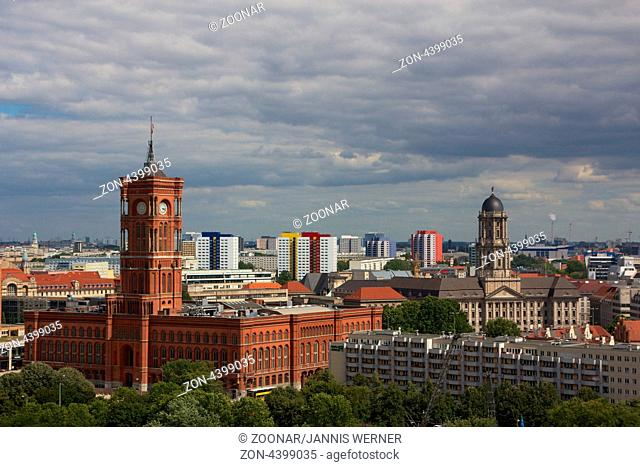 Seat of the mayor and governor of the German Federal State of Berlin, the Rotes Rathaus, and the Altes Stadthaus at the Alexanderplatz in Berlin, Germany