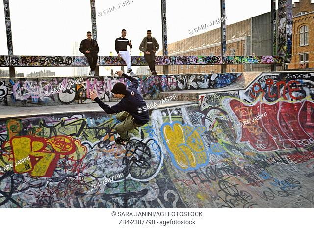 Skate Park on Rue des Ursulines with graffities painted by Parole & Sambre, Marolles district, Brussels, Belgium, Europe